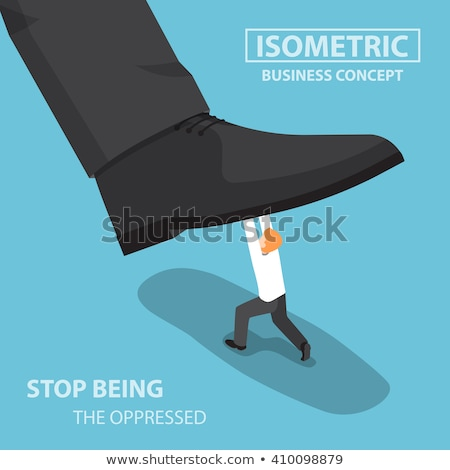 Giant person stepping on a little businessman concept Stock photo © ra2studio