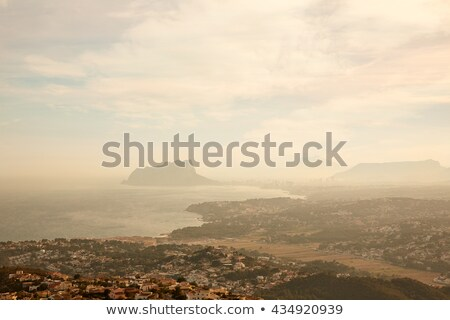 Foggy sunset with aerial Alicante Calpe view Stock photo © lunamarina