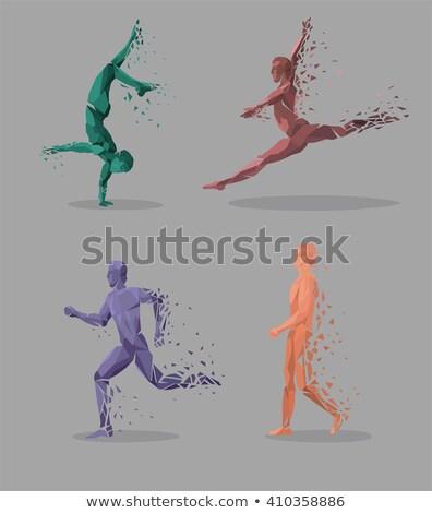 geometrica · particella · eseguire · dance · persone · colorato - foto d'archivio © robuart