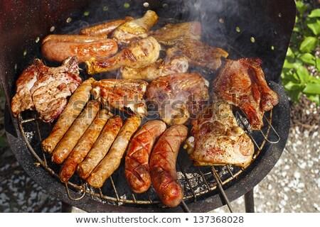 Foto stock: Carne · grelhado · vegetal · cinza · legumes · grelha