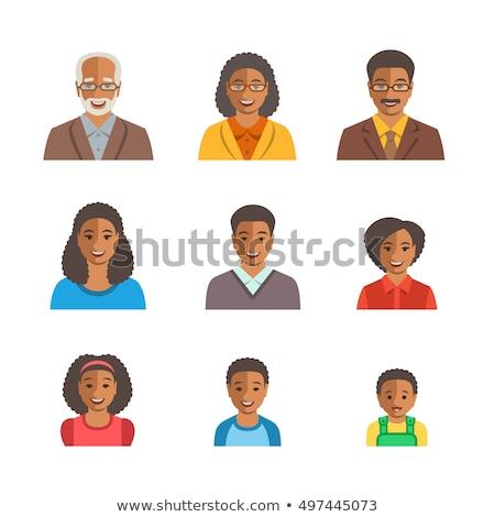 baba · fiú · arcok · avatar · vektor · ikon · szett - stock fotó © vectorikart