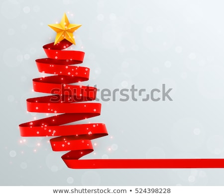 modern vector christmas tree made from lines stock photo © orson