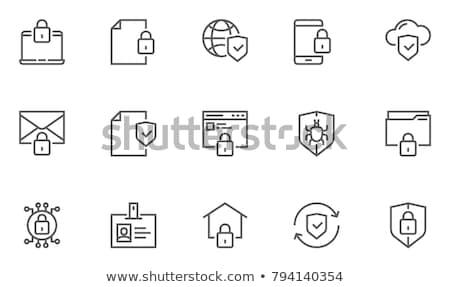 Stock fotó: Biztonság · ikon · szett · háló · felhasználó · interfész · kutya