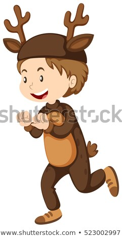 Boy dressed up as reindeer Stock photo © bluering