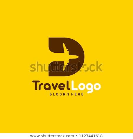 Viajar design de logotipo companhia praia água avião Foto stock © sdCrea