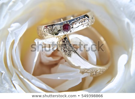 beautiful wedding ring with red gemstone stock photo © robuart