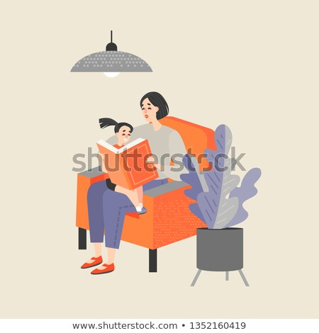 mother reading a book to her children vector illustration isola stock photo © maia3000