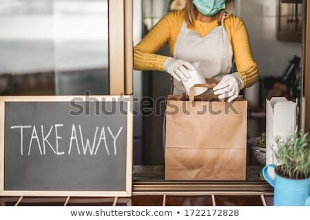 étel konténer üres fehér papír ebéd Stock fotó © dezign56