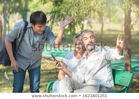 кавказский путешественник направлении улыбаясь Сток-фото © RAStudio