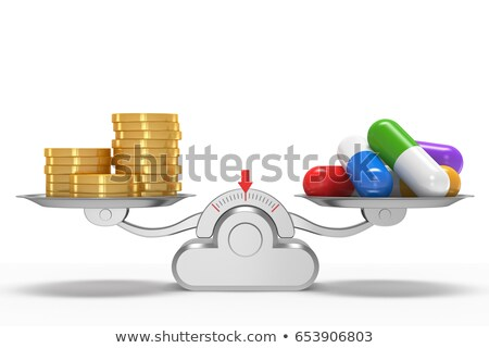 Medicines and money on scales. Isolated 3D illustration Stock photo © ISerg