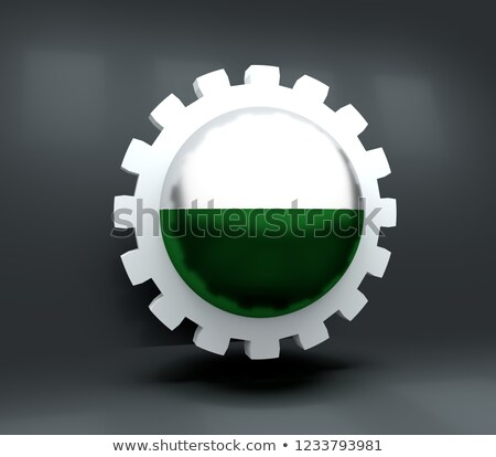 gear wheel and flag of saxony - 3d rendering Stock photo © drizzd