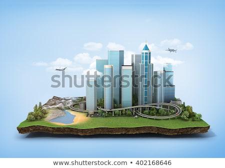 Stad wolken 3D abstract collage gebouw Stockfoto © ixstudio