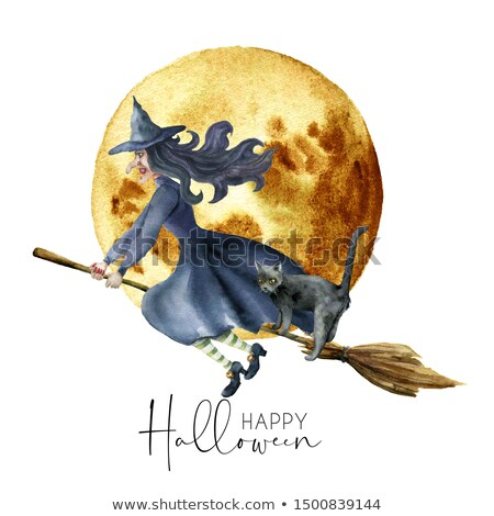 Halloween Witch Flying on Broomstick Background Stock photo © Krisdog