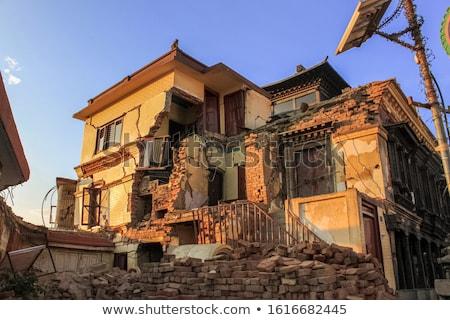 Nepal deprem 2015 binalar ev duvar Stok fotoğraf © dutourdumonde