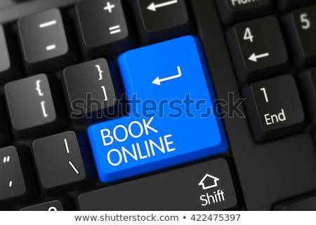 ストックフォト: 青 · 図書 · を · キーパッド · キーボード · 3D