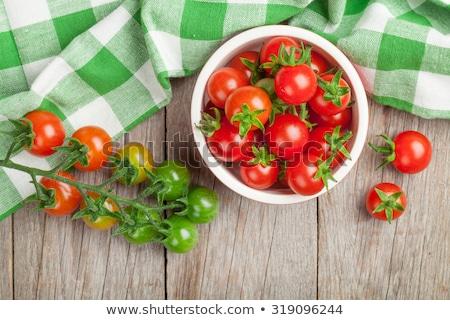 Plaka kiraz domates beyaz gıda taze sağlıklı Stok fotoğraf © Digifoodstock