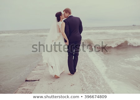A wedding couple in an autumn wind Stock photo © IS2