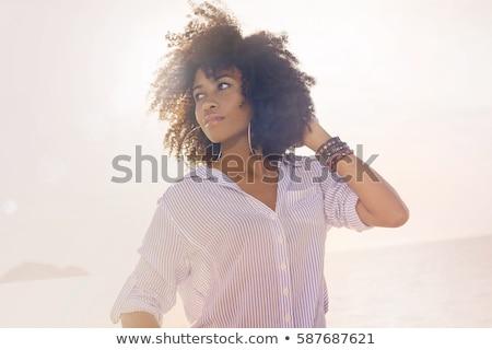 Jovem hippie mulher risonho alegre mãos Foto stock © RAStudio