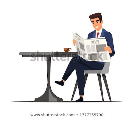 小さな · ビジネスマン · ニュース · 紙 · 新聞 · 青 - ストックフォト © rastudio
