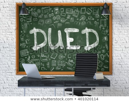 Hand Drawn Dued on Office Chalkboard. Stock photo © tashatuvango