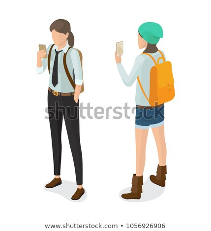 High School Pupil in Black Trousers Shirt and Tie Stock photo © robuart