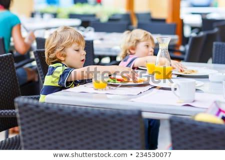 kinderen · picknick · drie · cute · samen · bloemen - stockfoto © bluering