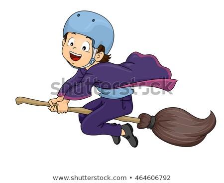 Kid jongen heks student helm illustratie Stockfoto © lenm