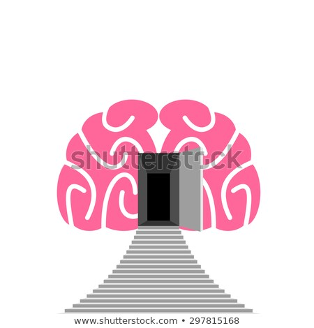 Open door and step of  human brain. Entrance into  subconscious. Stock photo © popaukropa