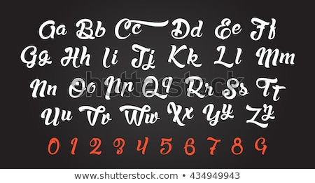 Handschriftlich Pinsel Schriftart Briefe Zahlen Design Stock foto © ikopylov