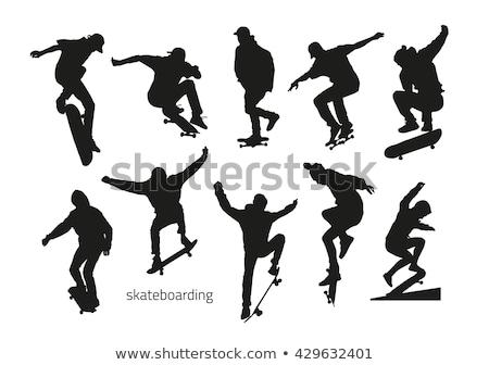 Skater Skateboarder Silhouette Stock photo © Krisdog