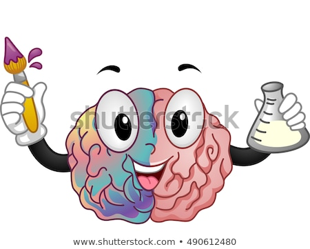 Mascot Brain Right Artist Left Chemist Stock photo © lenm
