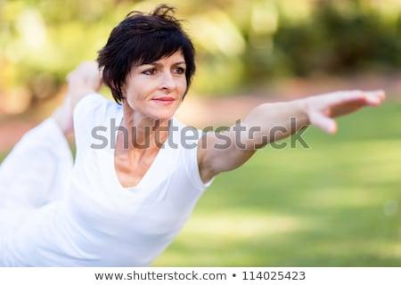 женщину · йога · саду · пышный · тропические - Сток-фото © is2