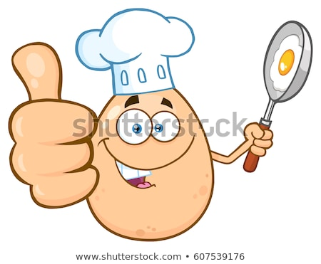 Chef Egg Cartoon Mascot Character Showing Thumbs Up And Holding A Frying Pan With Food Stock photo © hittoon