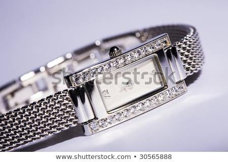 Női ezüst karóra gyémántok izolált fehér Stock fotó © gsermek