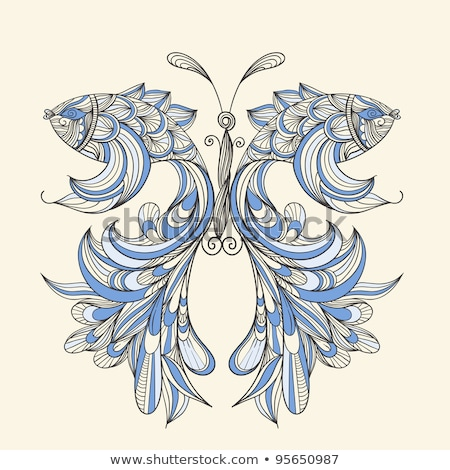 Lined butterfly fish card Stock photo © bluering