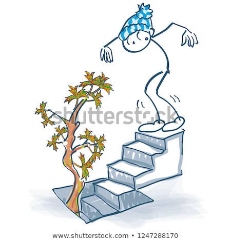 Stick figure stands on the basement stairs and sees an autumn tree grow out of the cellar Stock photo © Ustofre9