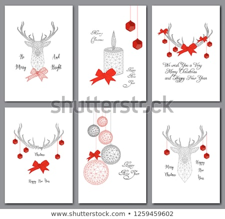 Modern simple white christmas balls with bow on red background, holiday greeting card with merry chr Stock photo © kurkalukas