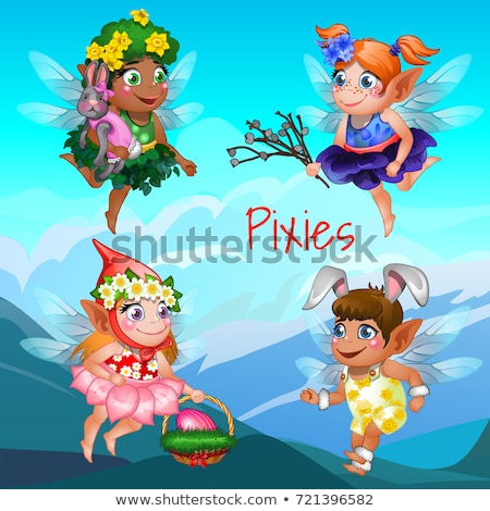 cute poster with the little flying pixies with mountains in the background easter symbols the egg i stock photo © lady-luck