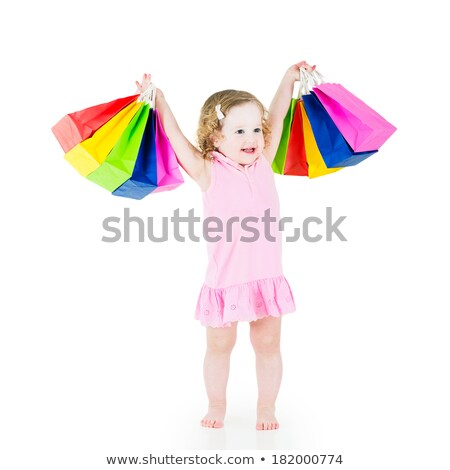 Little girl promoting sale offer in shopping mall Stock photo © Kzenon