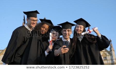 Multinacional grupo estudantes graduação mãos vetor Foto stock © pikepicture