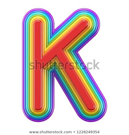 Koncentrikus szivárvány betűtípus levél 3D renderelt kép Stock fotó © djmilic