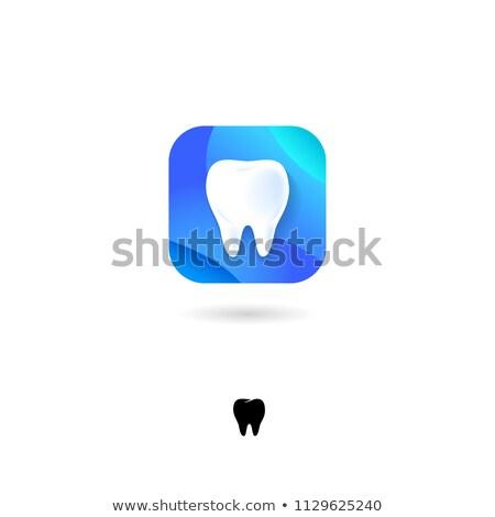 zahnärztliche · Klinik · logo · Zahn · blau · Symbol - stock foto © tefi