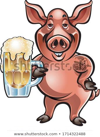 Desenho animado javali bêbado festa ilustração seis Foto stock © cthoman