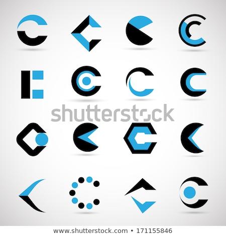 Kék fekete c betű logo kör ikon Stock fotó © blaskorizov