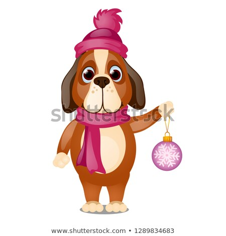 Cute animated dog in a scarf and hat is holding in his paw a Christmas toy isolated on white backgro stock photo © Lady-Luck