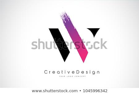Logo różowy czarny list w ikona wektora Zdjęcia stock © blaskorizov