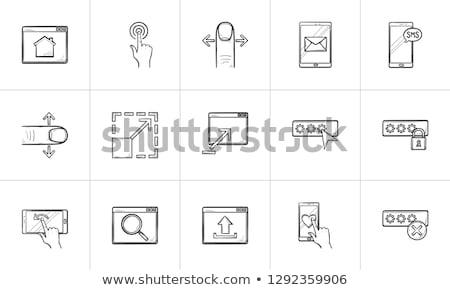 bejelentkezés · lakat · kézzel · rajzolt · skicc · firka · ikon - stock fotó © rastudio
