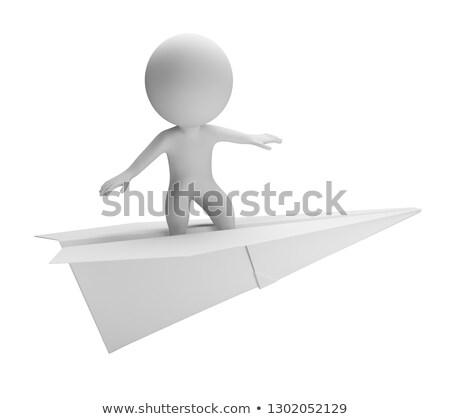 3D · witte · mensen · zakenlieden · vliegreizen · witte · business - stockfoto © anatolym