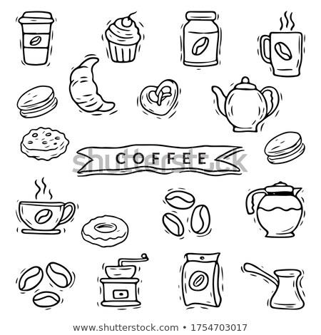 Schets koffiezetapparaat geïsoleerd witte koffie achtergrond Stockfoto © Arkadivna