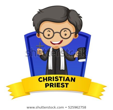 Bezetting christelijke priester illustratie man werk Stockfoto © colematt